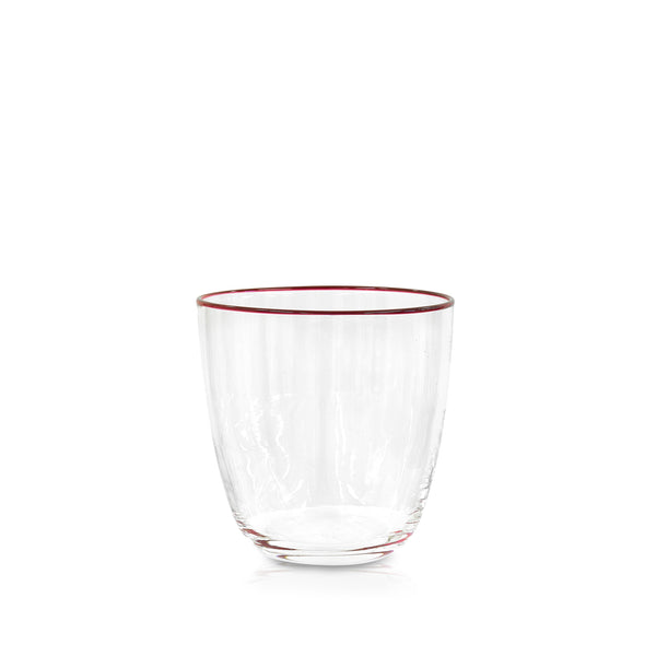 Handblown Clear Bumba Glass with Cherry Red Rim