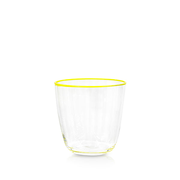 Handblown Clear Bumba Glass with Lemon Yellow Rim