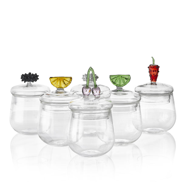 Glass Jam Jar with Strawberry Lid