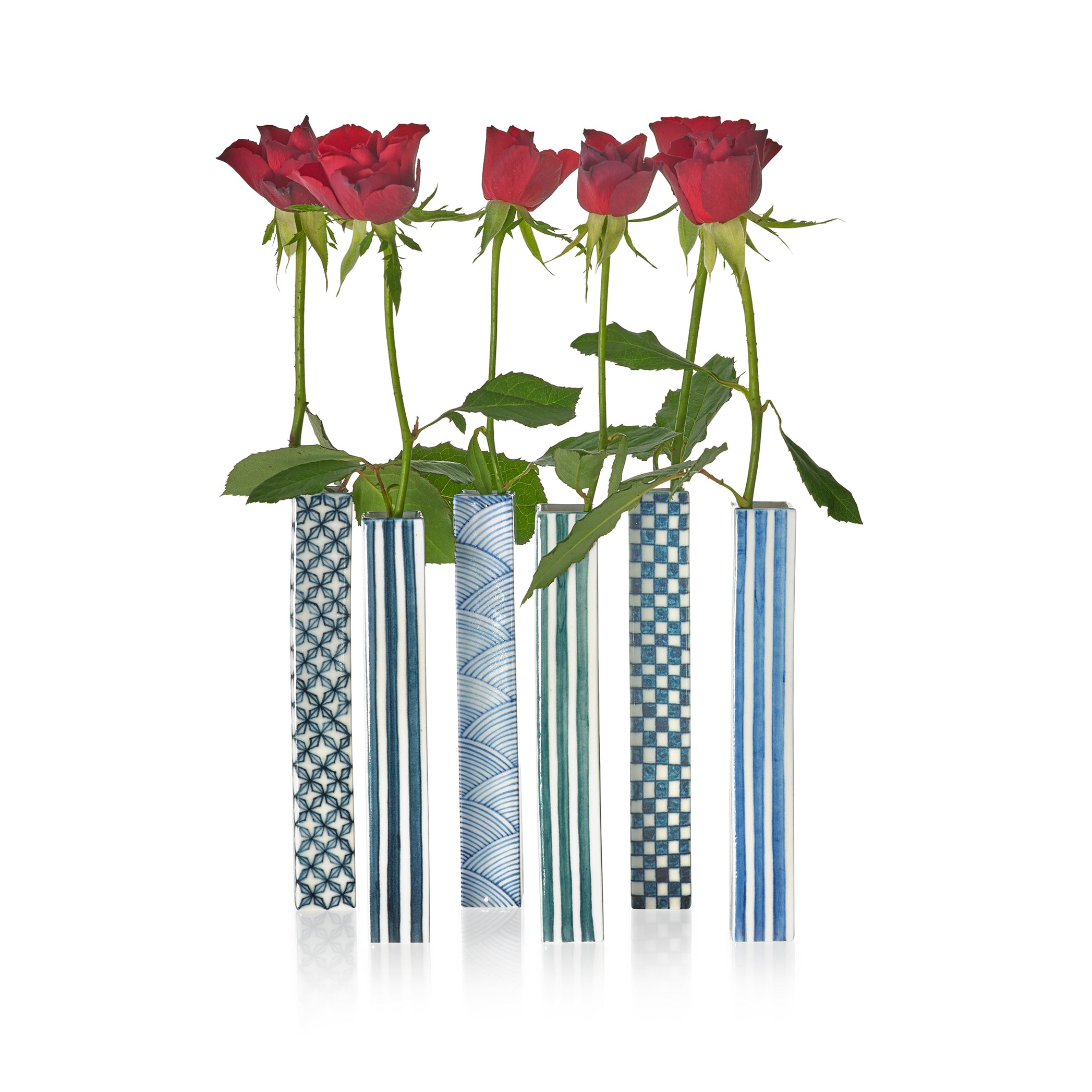 Square Vase with Dark Blue Check Pattern