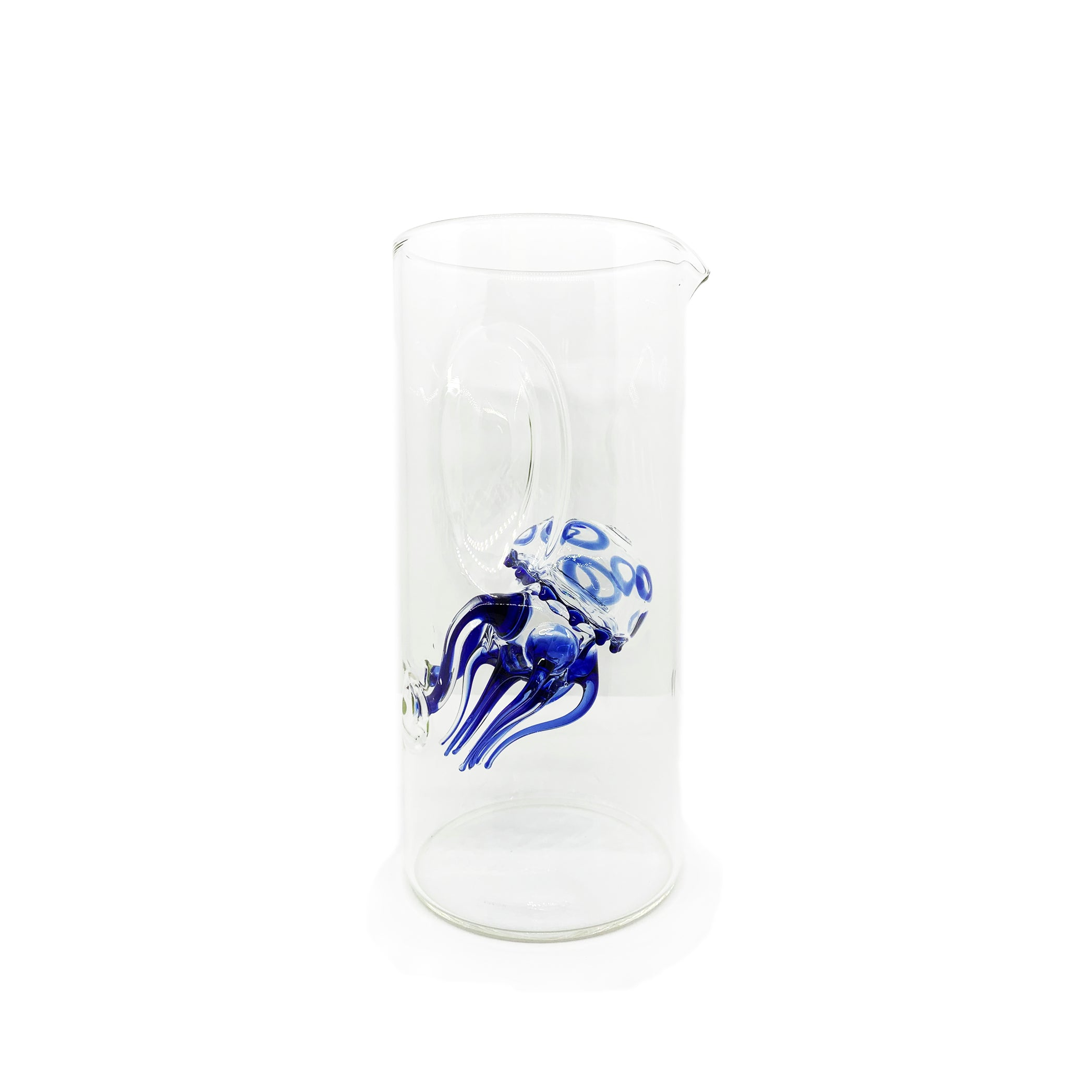 Handblown Glass Blue Jellyfish Carafe