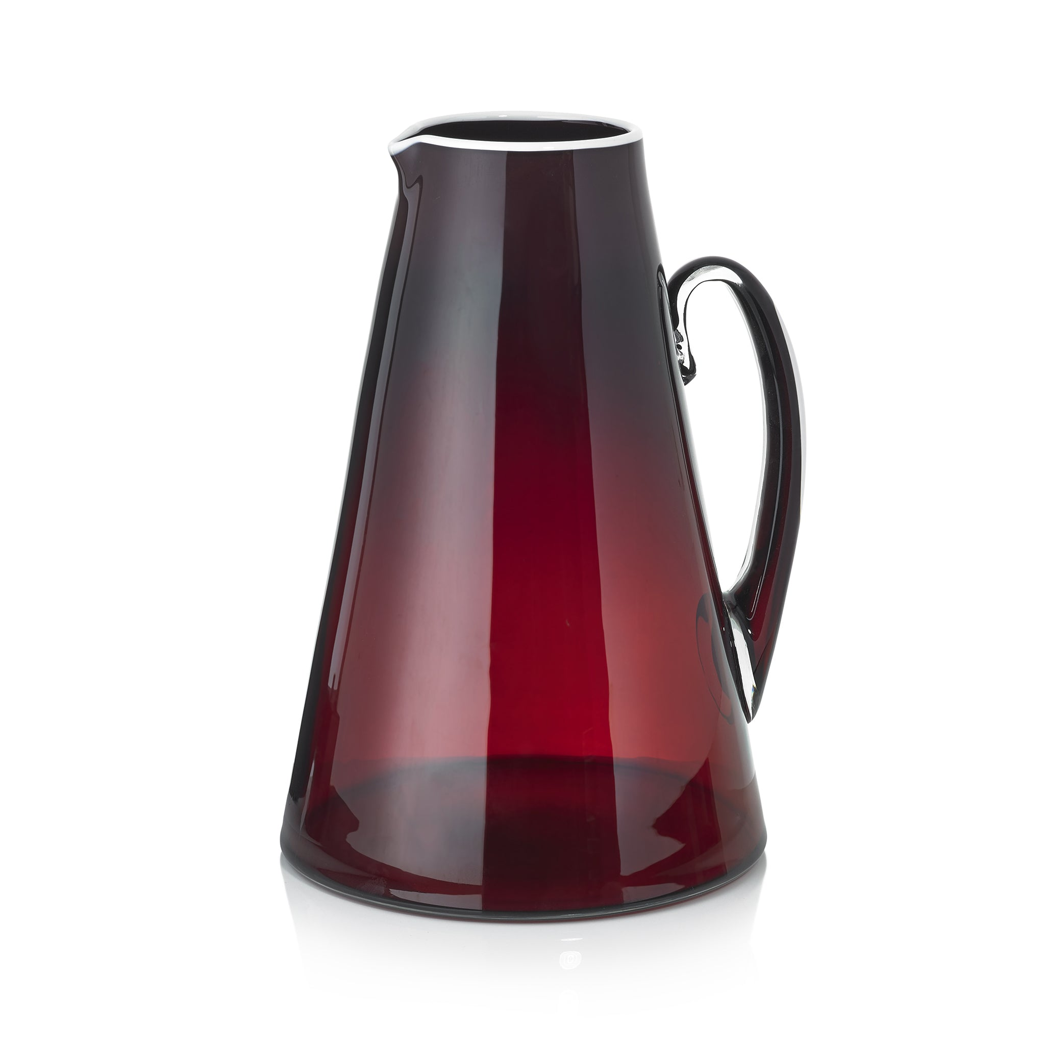 Handblown Glass Bumba Jug in Claret Red