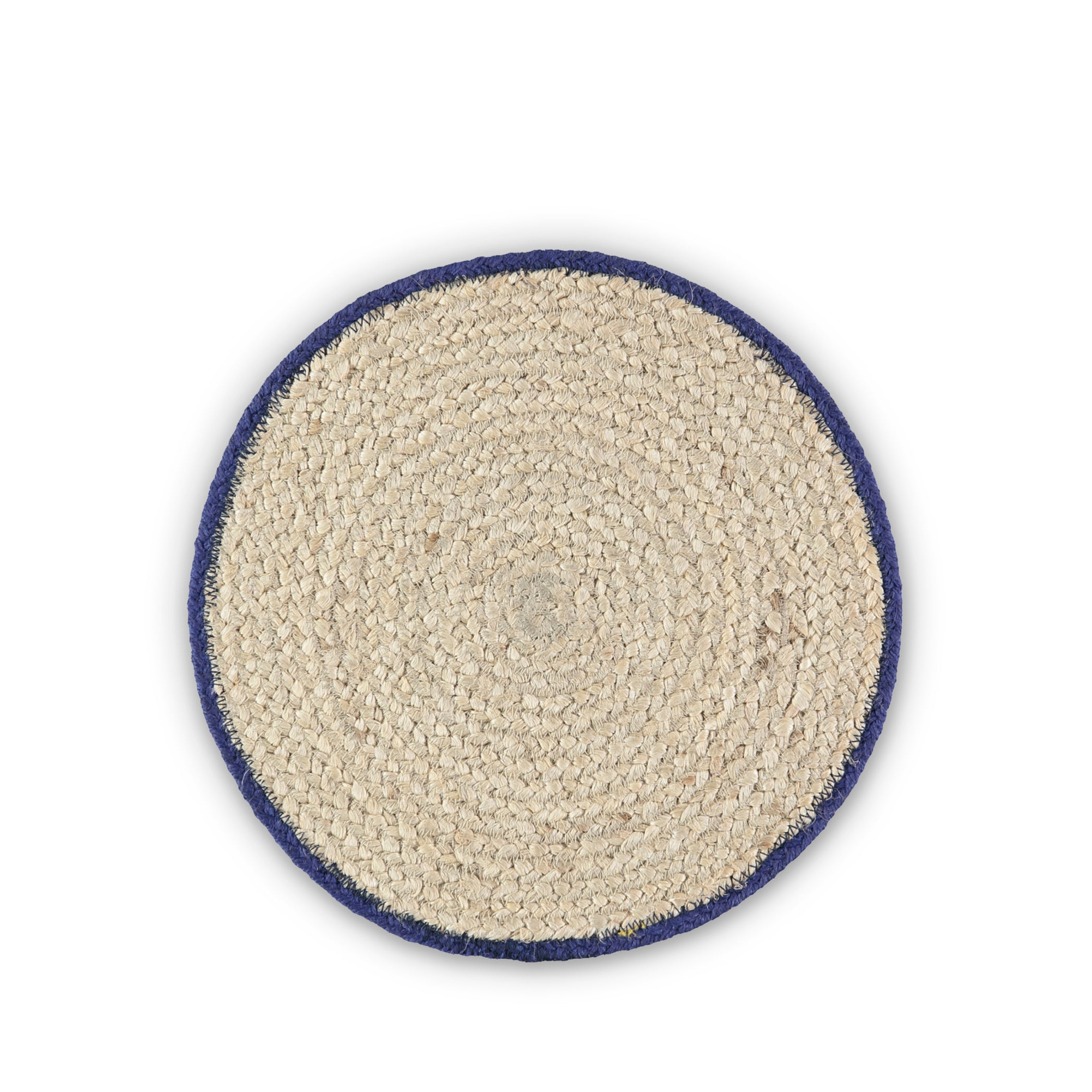 Jute Placemats with Dark Blue Border in Basket, Set of Six