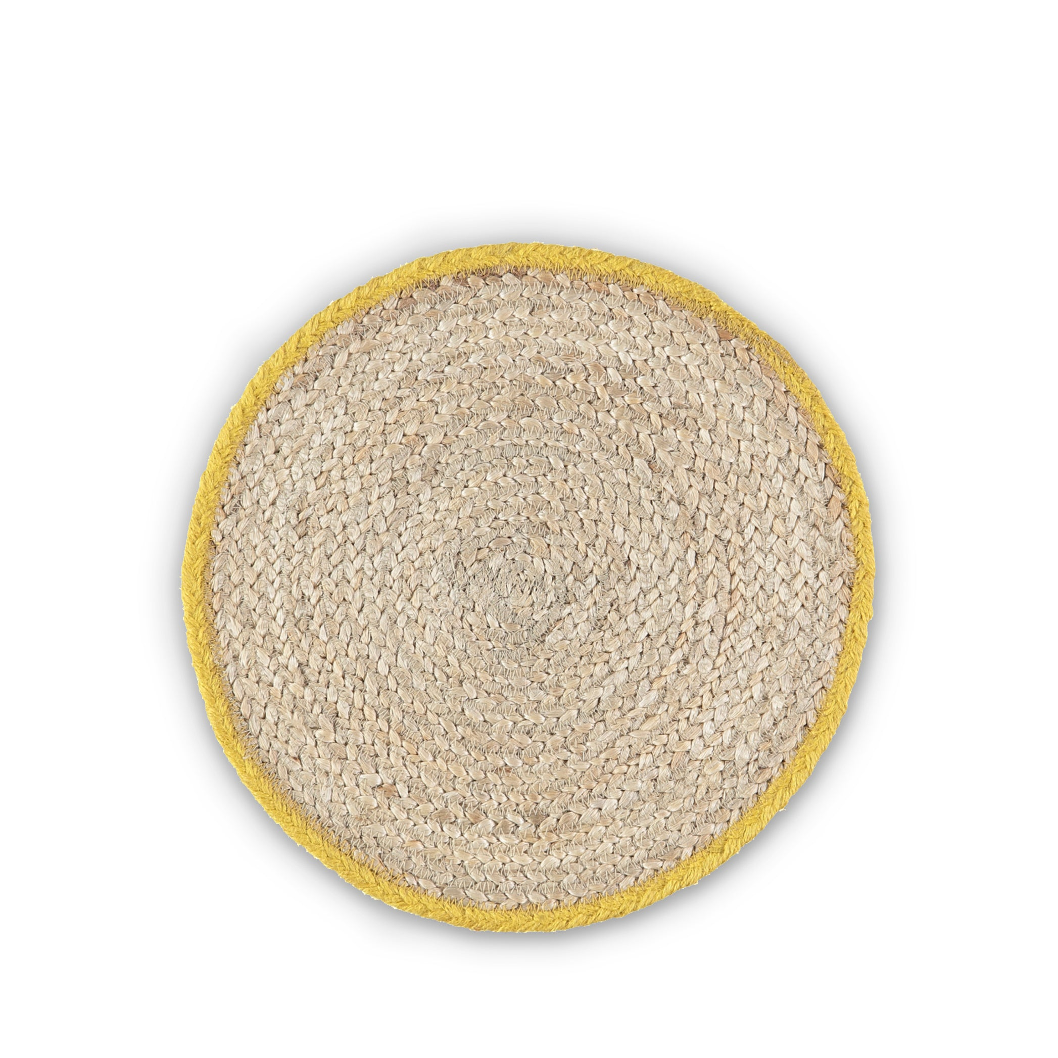 Jute Placemats with Yellow Border in Basket, Set of Six