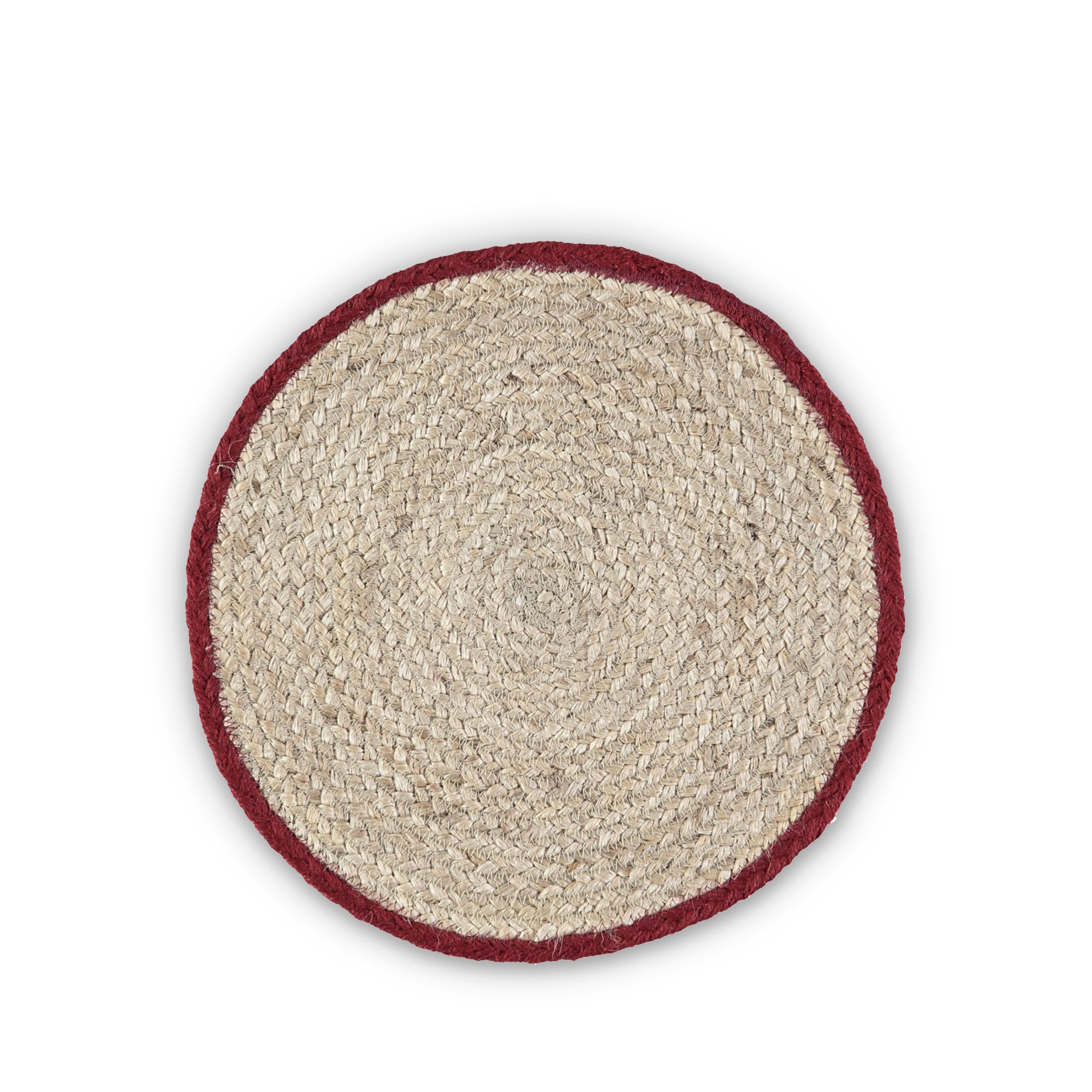 Jute Placemats with Red Border in Basket, Set of Six