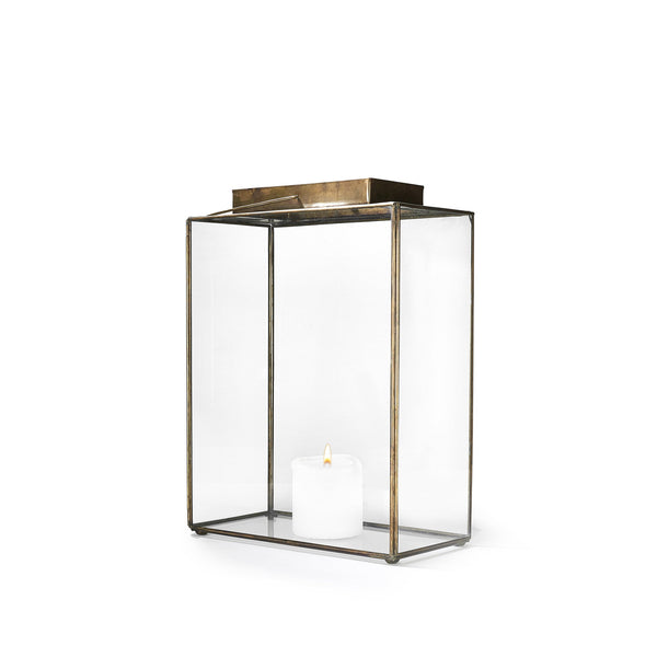 Tall Rectangular Open Top Brass Lantern