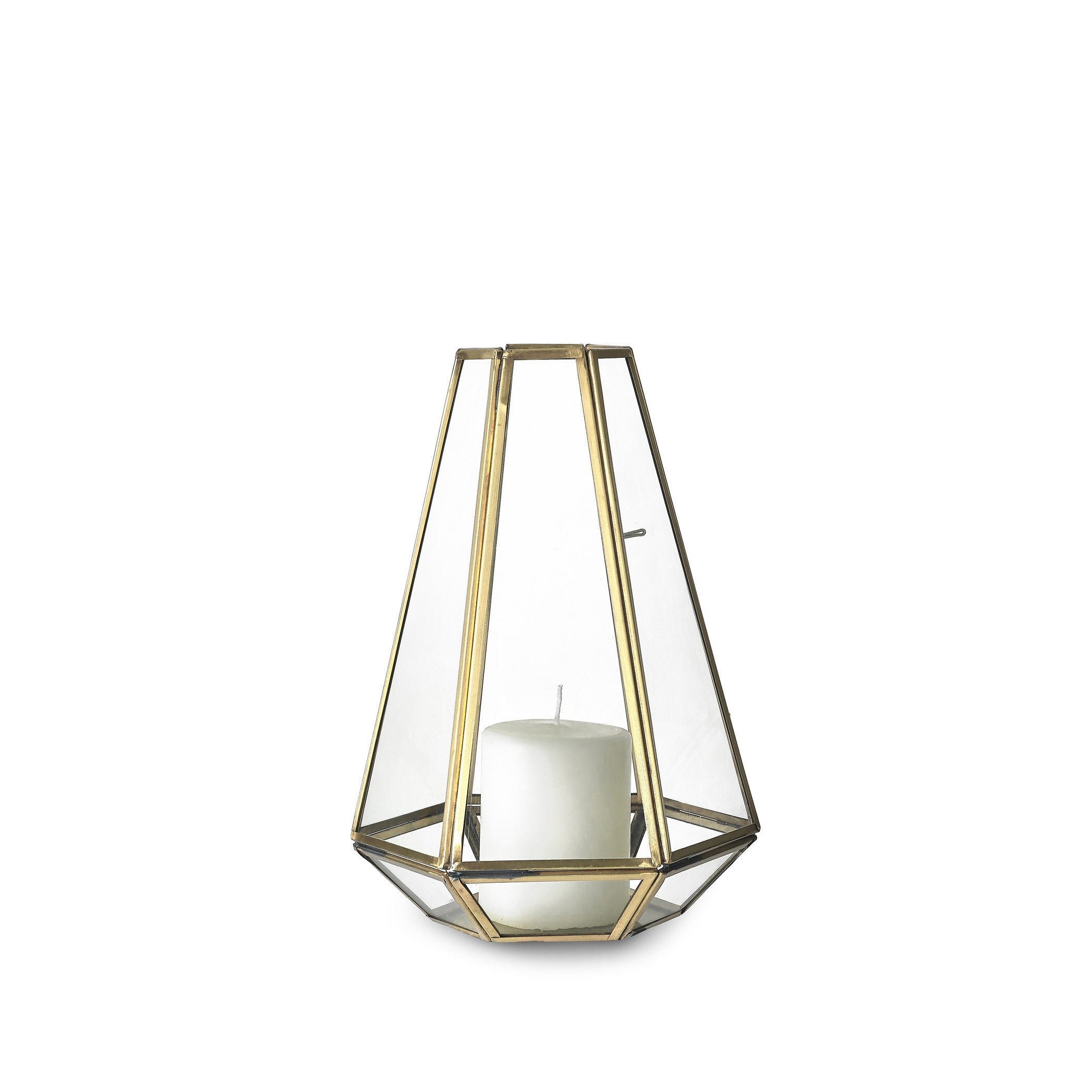 Framed Hexagonal Lantern in Brass, Small