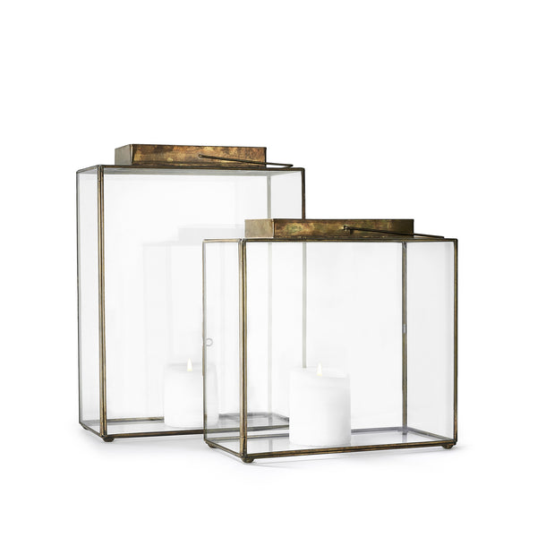 Wide Rectangular Open Top Brass Lantern