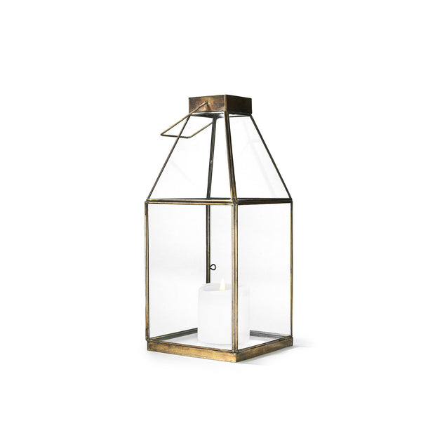 House Shaped Open Top Brass Lantern