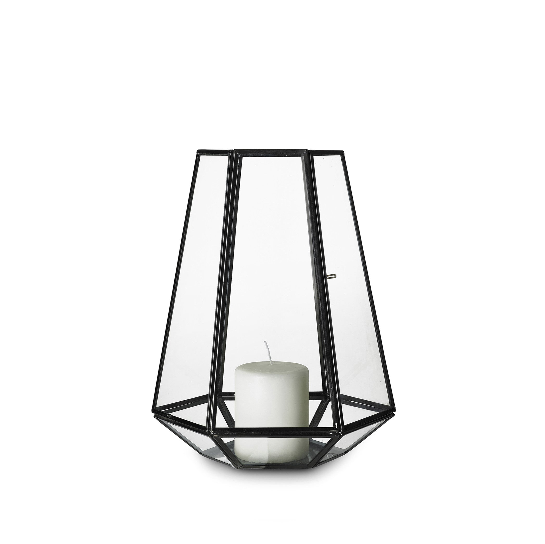 Framed Hexagonal Lantern in Black, Large