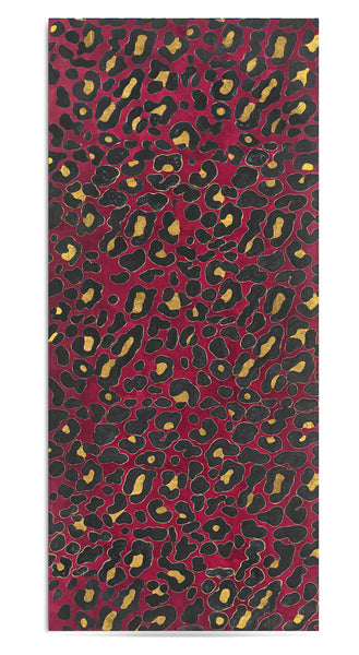 Fierce Leopard Linen Tablecloth in Burgundy with Gold And Smoke Grey Spots