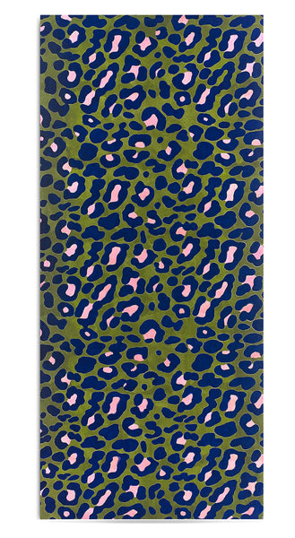 Fierce Leopard Linen Tablecloth in Avocado Green with Rose Pink And Ink Blue Spots