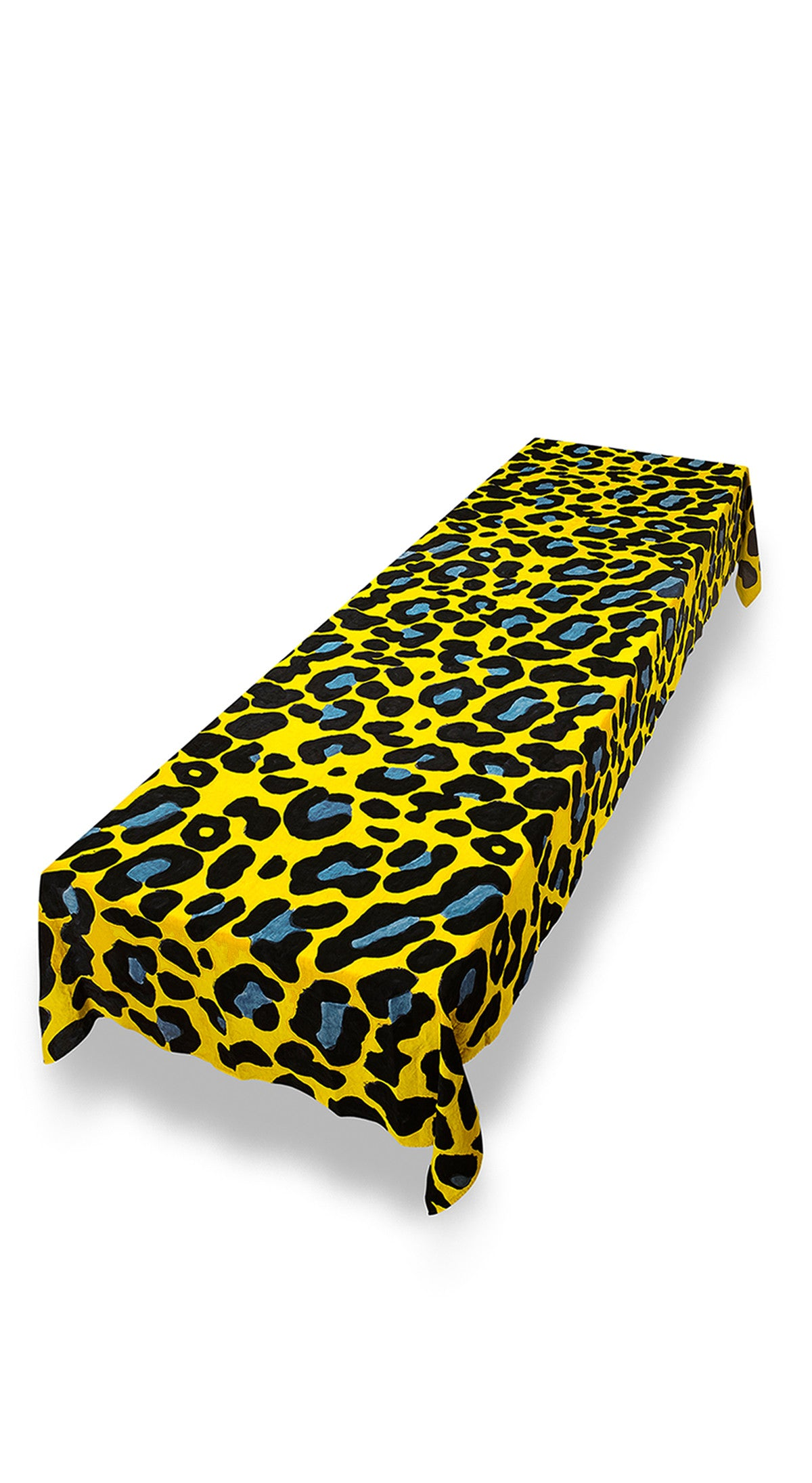 Fierce Leopard Linen Tablecloth in Lemon Yellow with Powder And Midnight Blue Spots