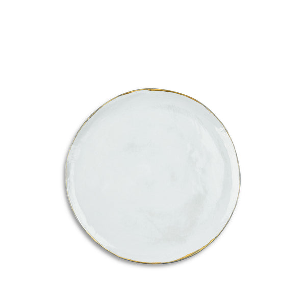 Medium Light Blue Ceramic Plate with Gold Rim, 28cm