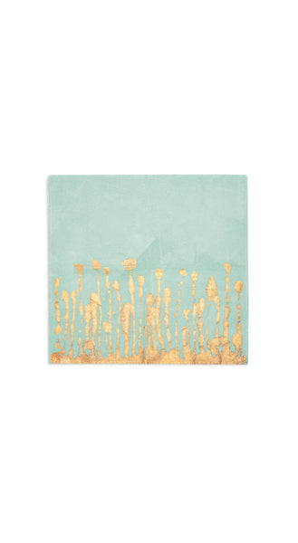 Ink Linen Napkin in Light Green with Gold Drips