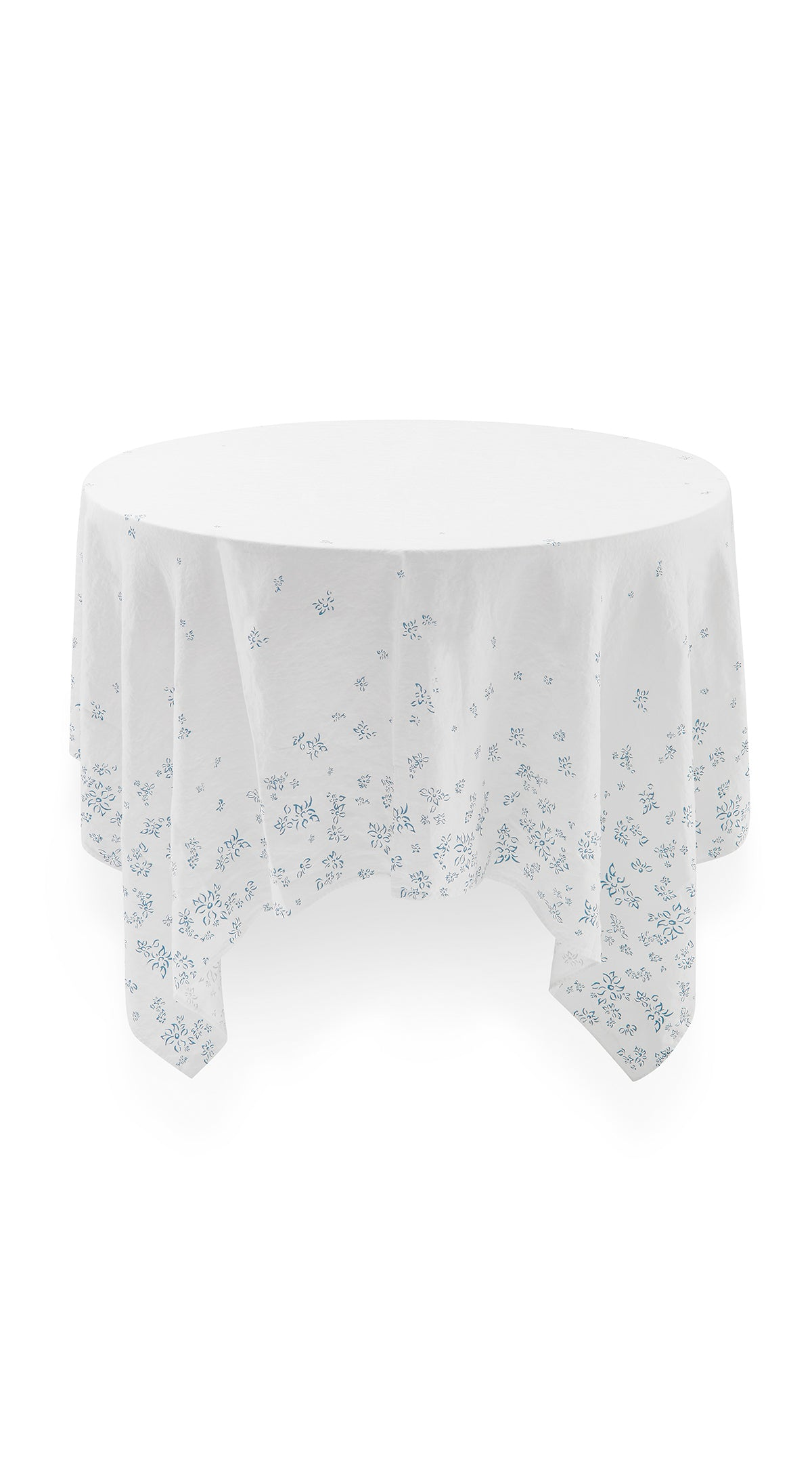 Bernadette's Falling Flower Square Linen Tablecloth in Light Blue, 200cm x 200cm