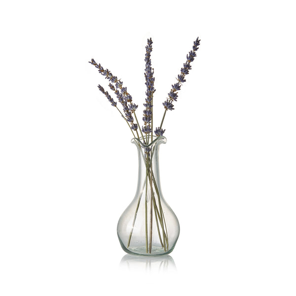 Handblown Glass Flower Vase with Long Neck