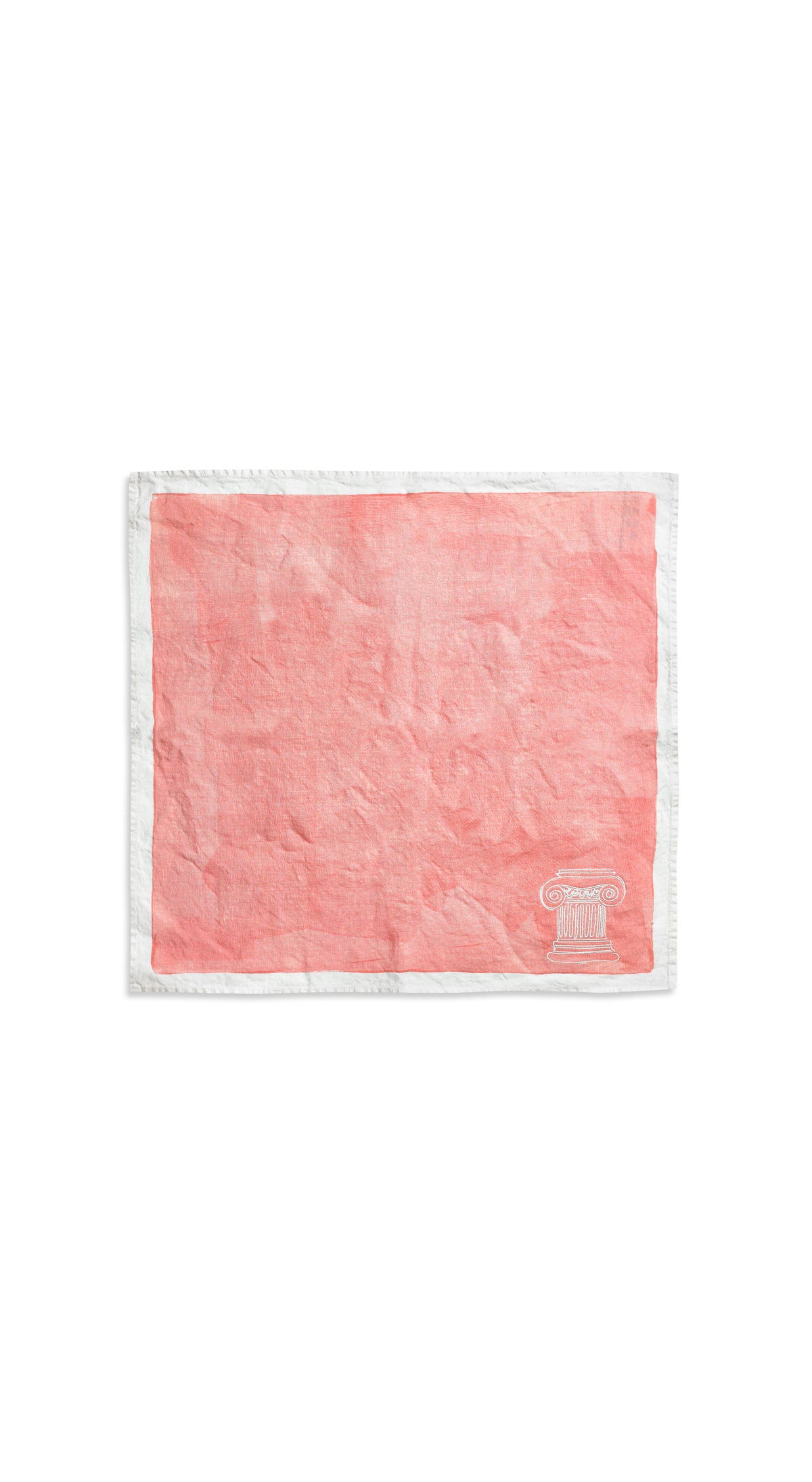 'Ionic Column' S&B x Luke Edward Hall Linen Napkin in Coral Pink