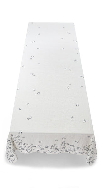 Bernadette's Falling Flower Linen Tablecloth in Midnight Blue