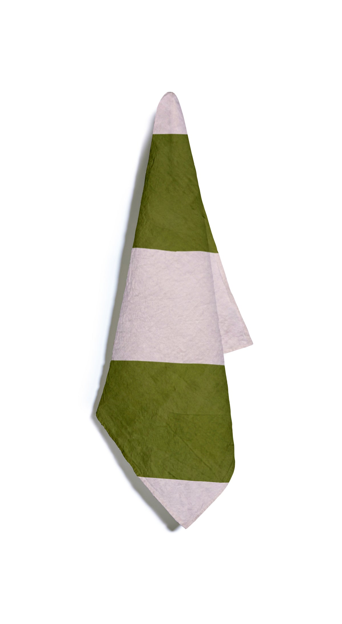 Stripe Linen Napkin in Avocado Green and Pale Pink