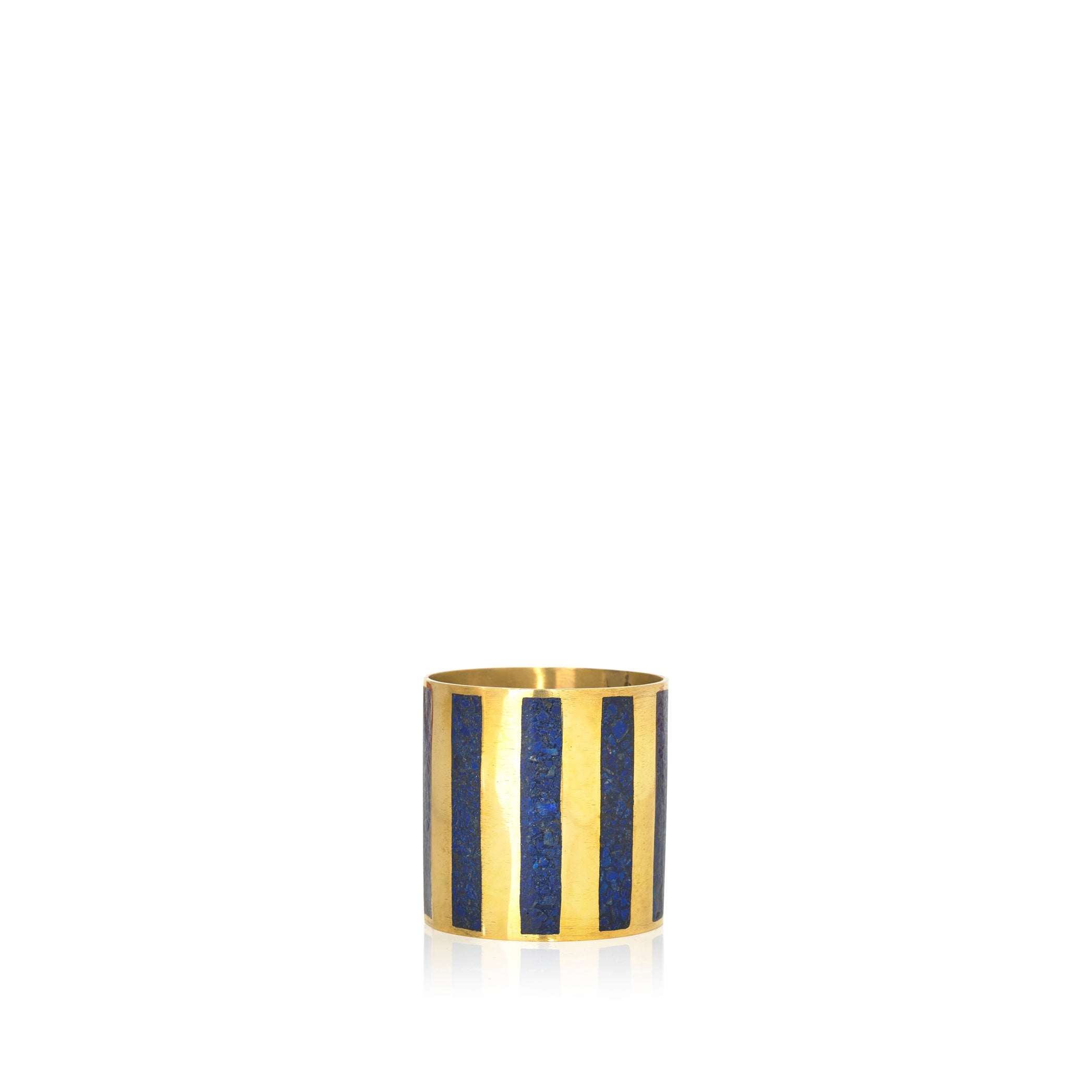 S&B x Pippa Small Lapis Inlaid Napkin Ring, Vertical Multiple Stripe