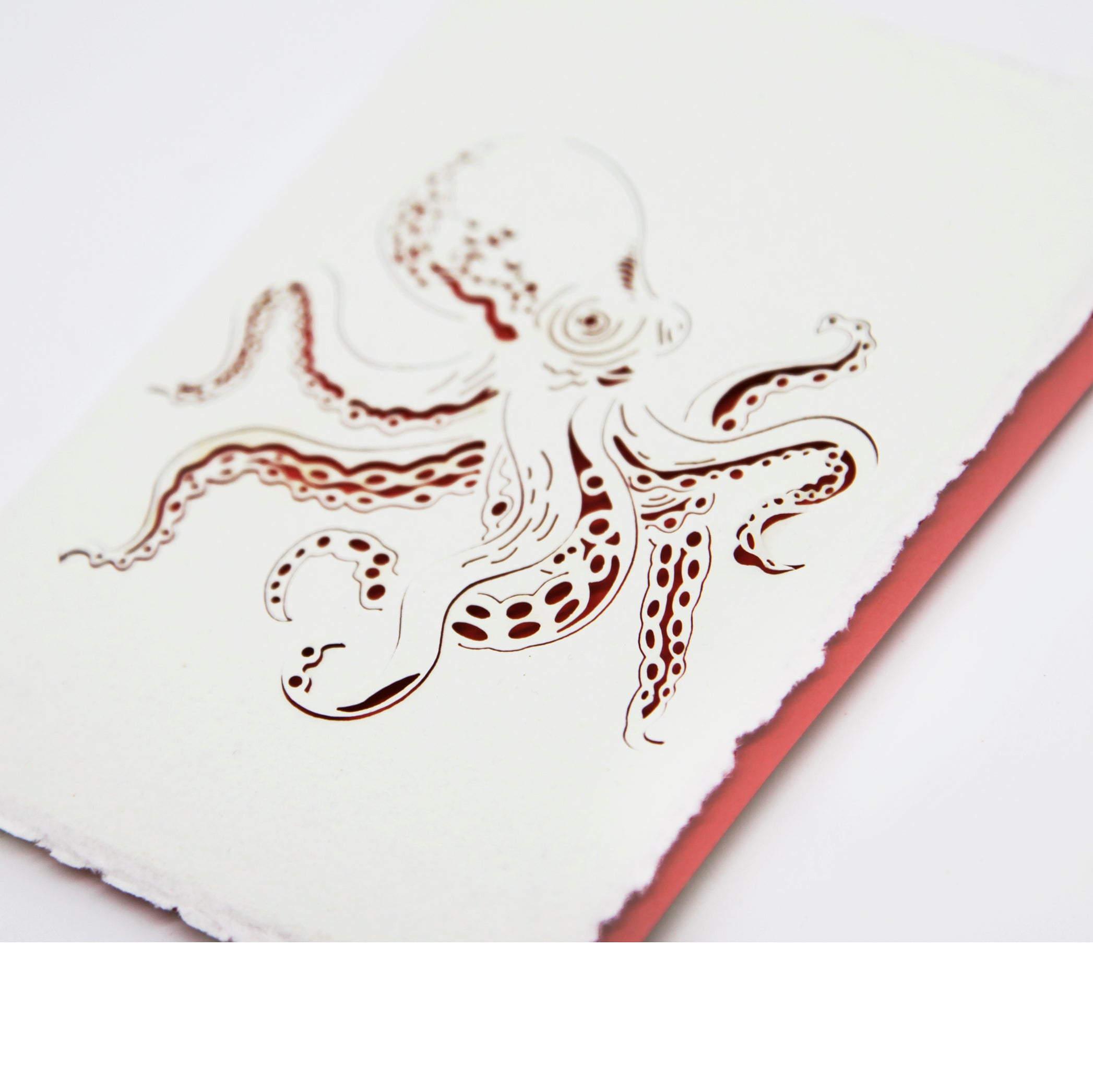Handmade Paper Greeting Card with Octopus
