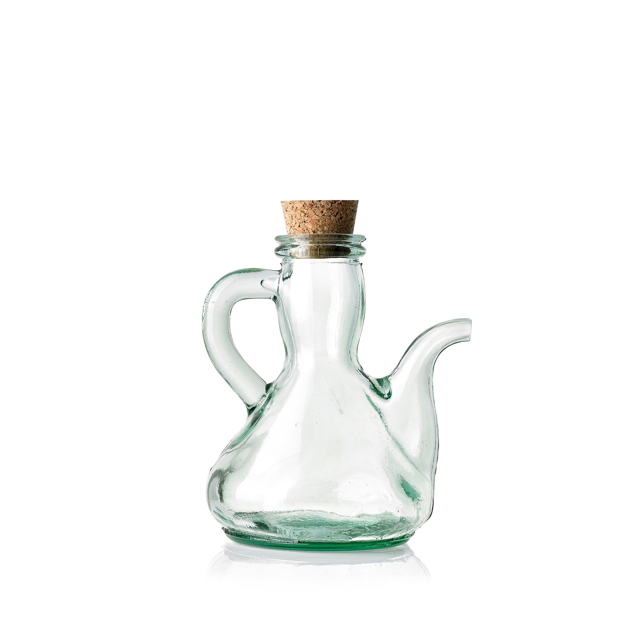 Recycled Glass Oil Pourer with Cork Stopper