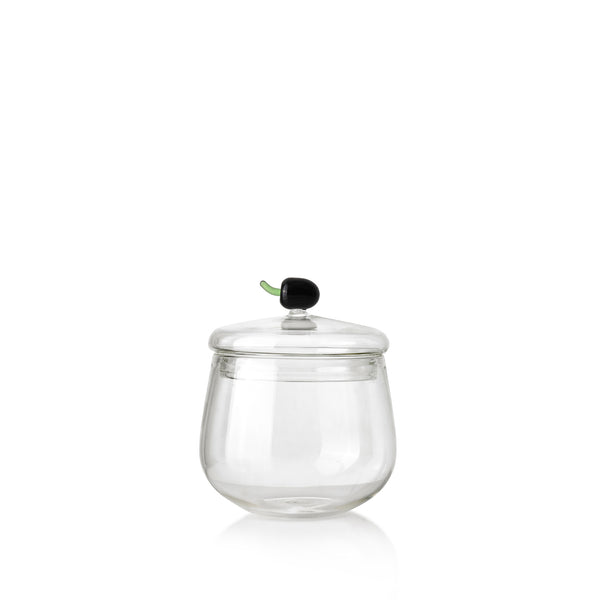 Glass Jam Jar with Black Olive Lid