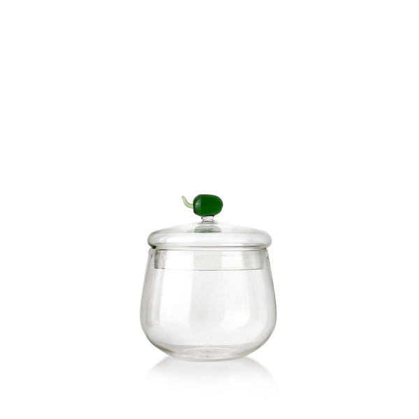 Glass Jam Jar with Green Olive Lid