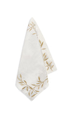 Embroidered Olive Leaf Linen Napkin in Gold