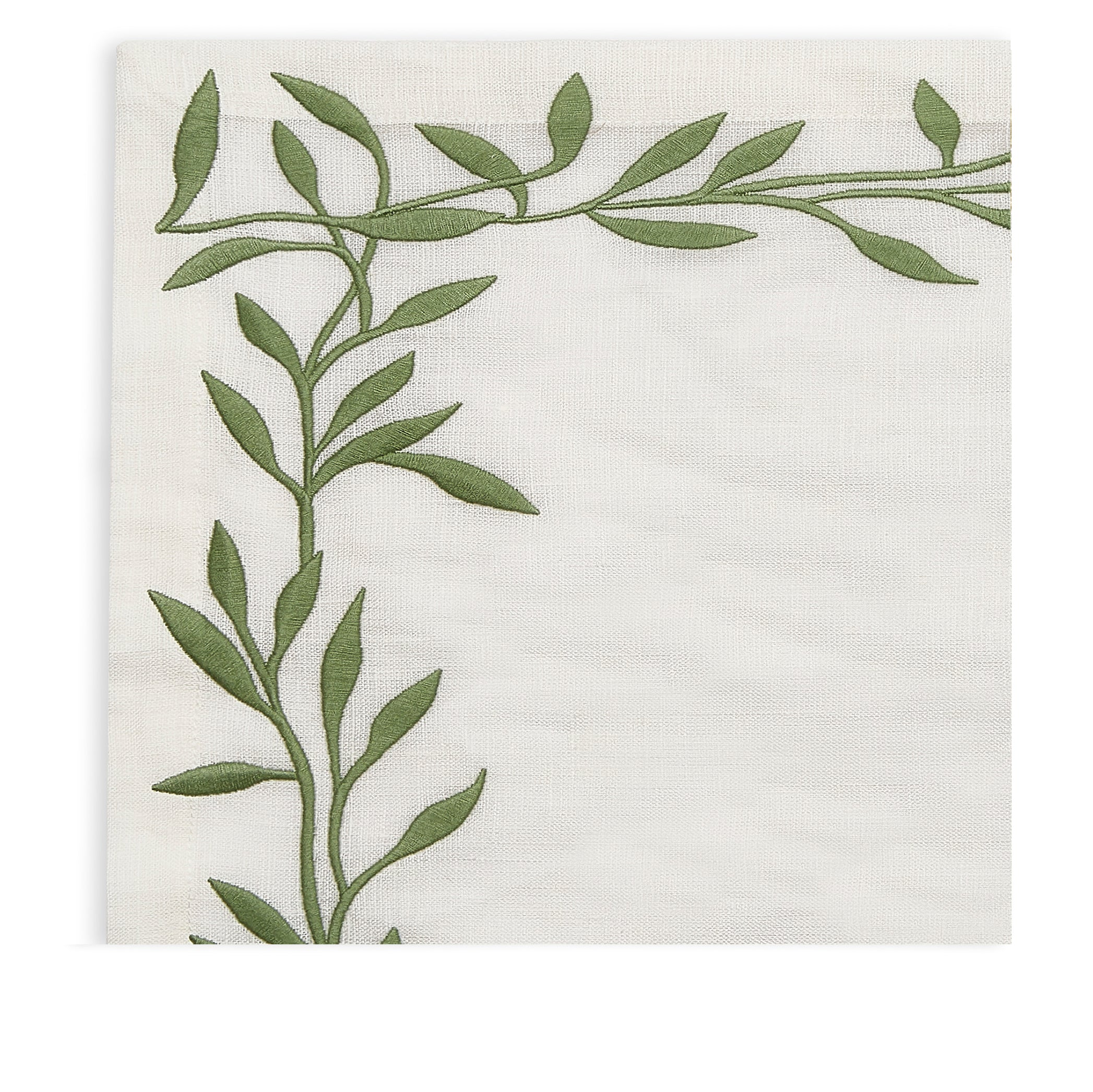 Embroidered Olive Leaf Linen Placemat in Green