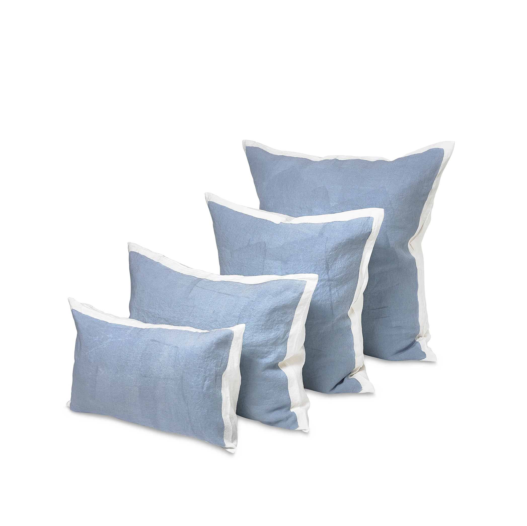 Hand Painted Linen Cushion in Pale Blue, 50cm x 30cm