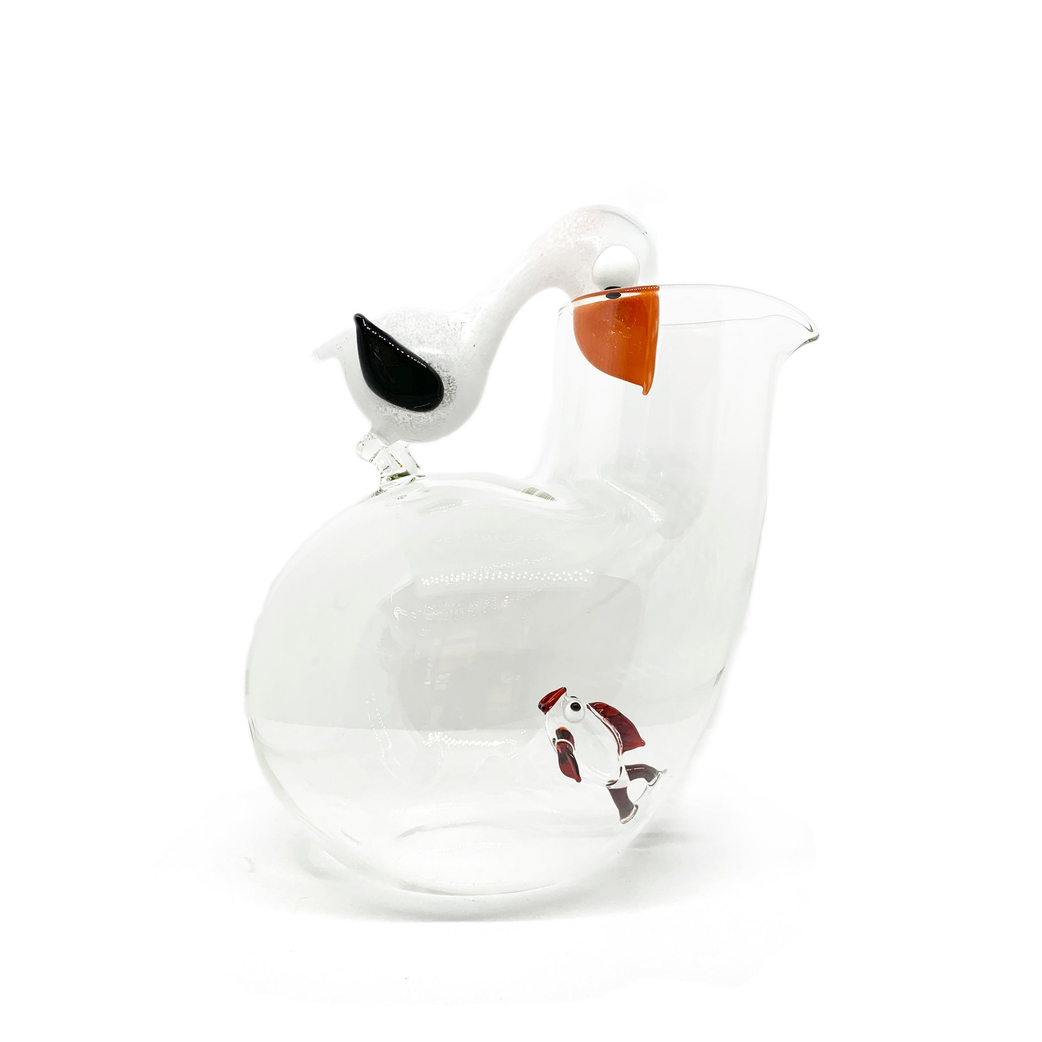 Handblown Glass Pelican and Fish Jug