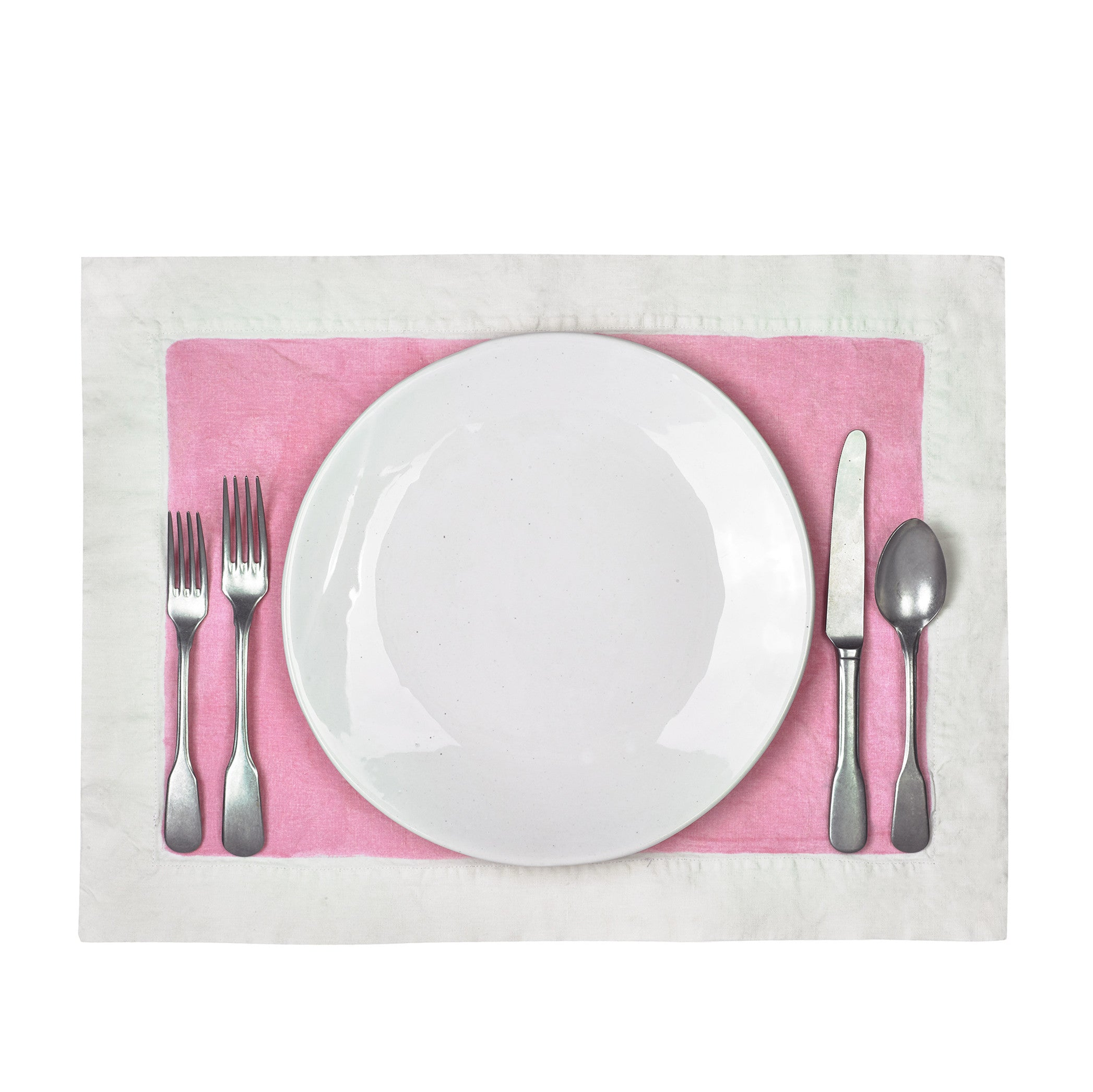 Hand Painted Full Field Linen Placemat in Rose Pink
