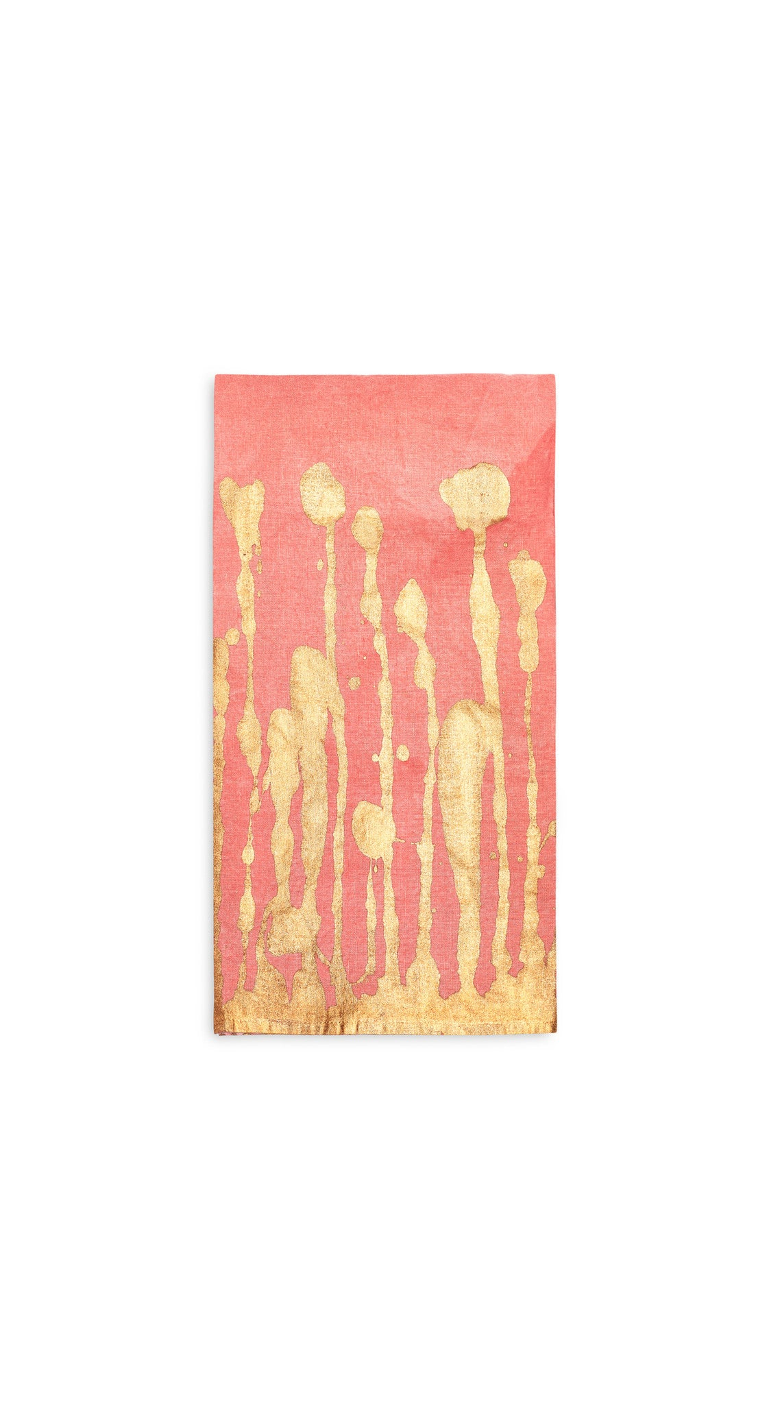 Ink Linen Napkin in Deep Pink with Gold Drips