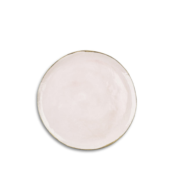 Medium Pink Ceramic Plate with Gold Rim, 28cm