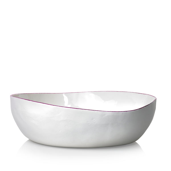 S&B Handmade 30cm Porcelain Medium Salad Bowl with Pink Rim