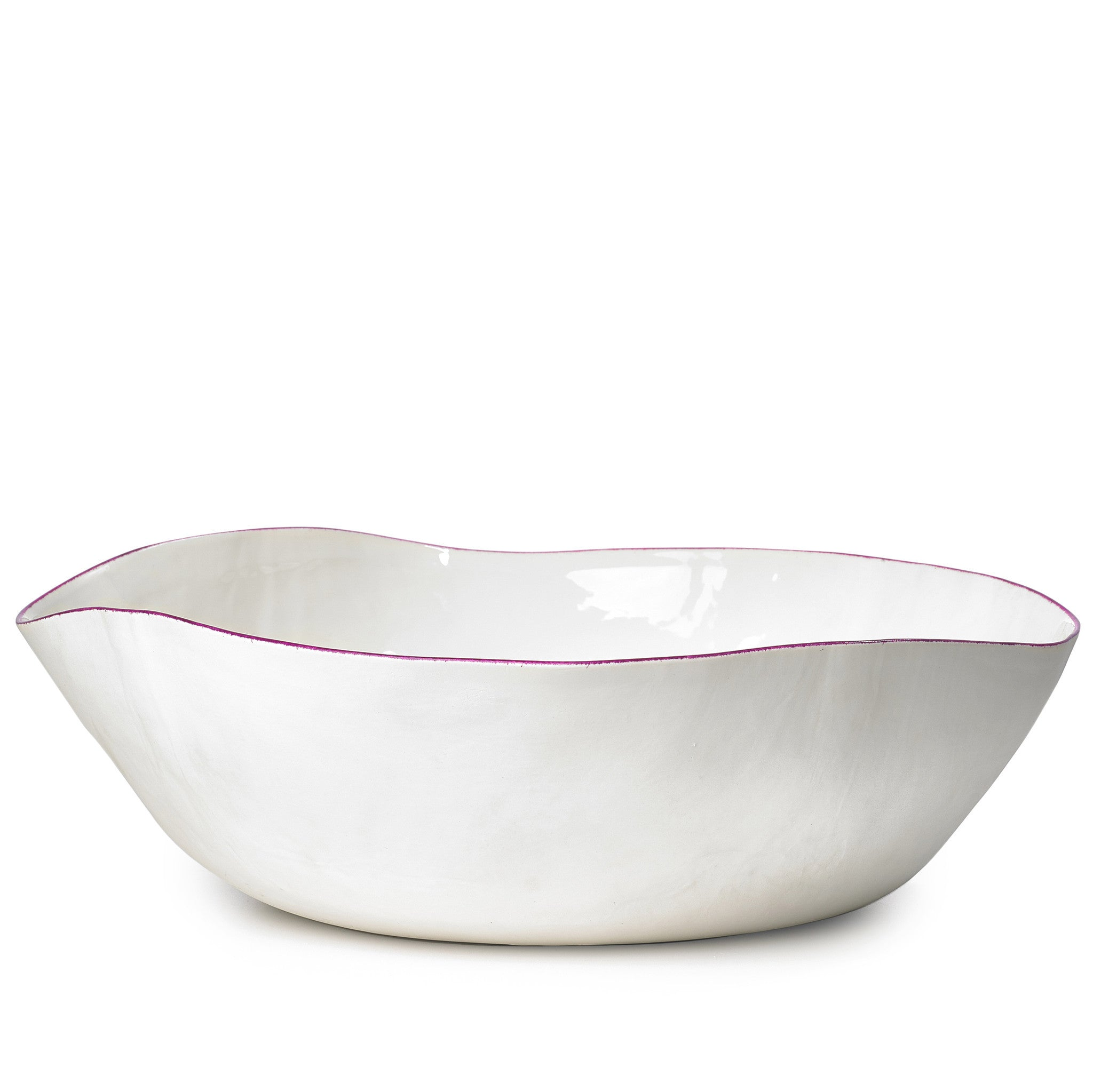 S&B Handmade 43cm Porcelain Extra Large Salad Bowl with Pink Rim