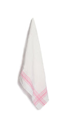 Stripe Linen Tea Towel in Rose Pink