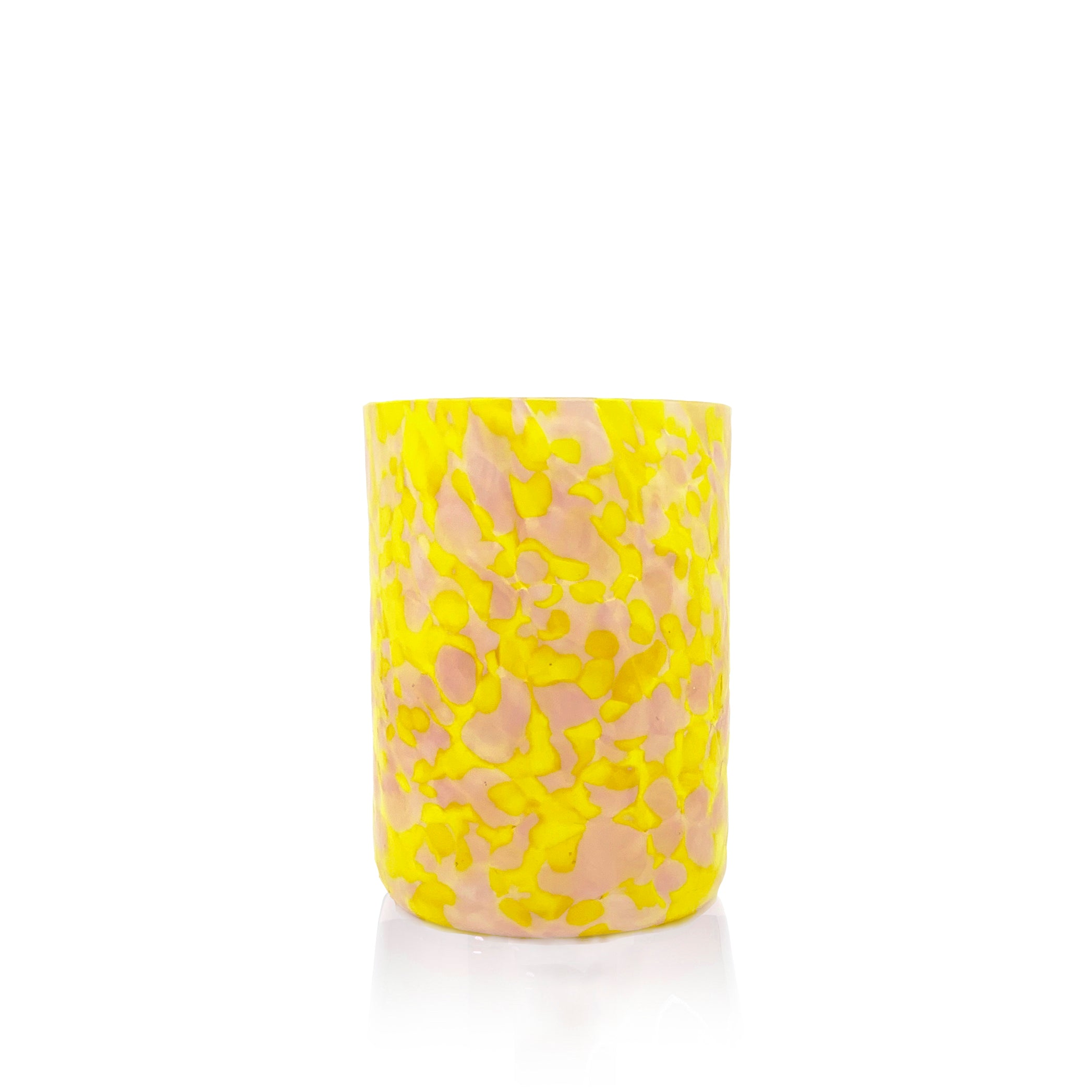 Handblown Speckled Yellow and Pink Glass Tumbler