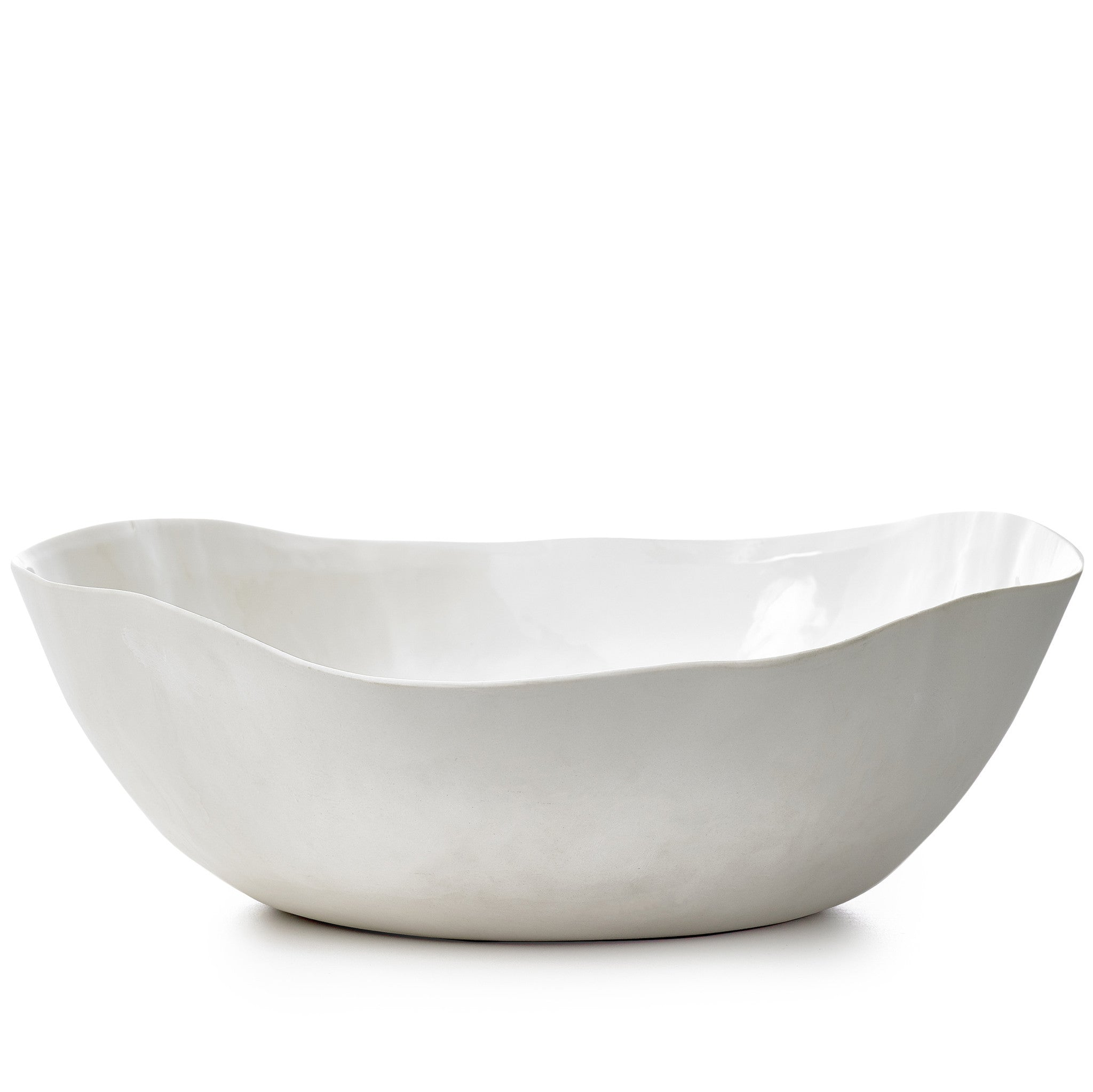 S&B Handmade 43cm Porcelain Extra Large Salad Bowl with Plain Rim