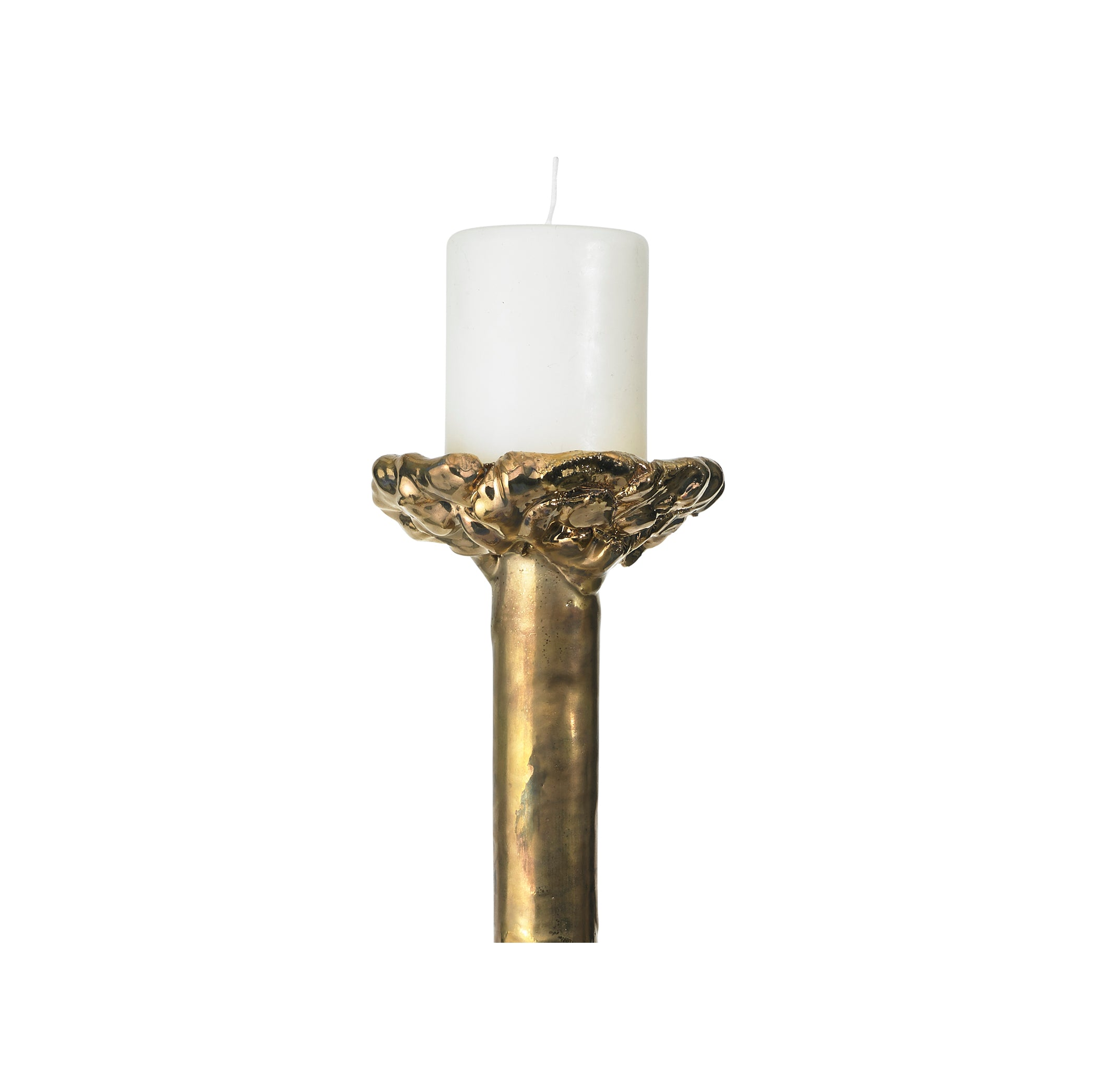 Babylon Ceramic Candlestick in Gold