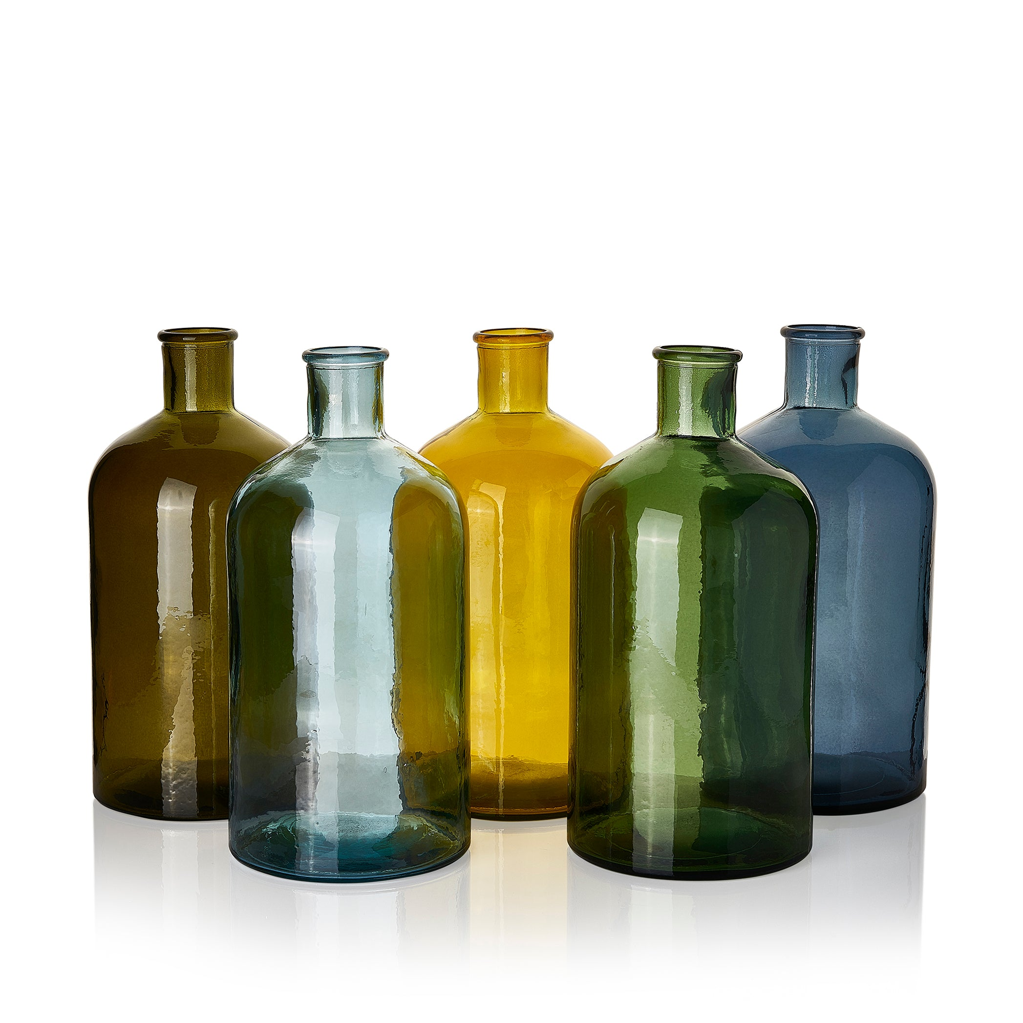 Recycled Glass Bottle in Mustard Yellow, 28cm