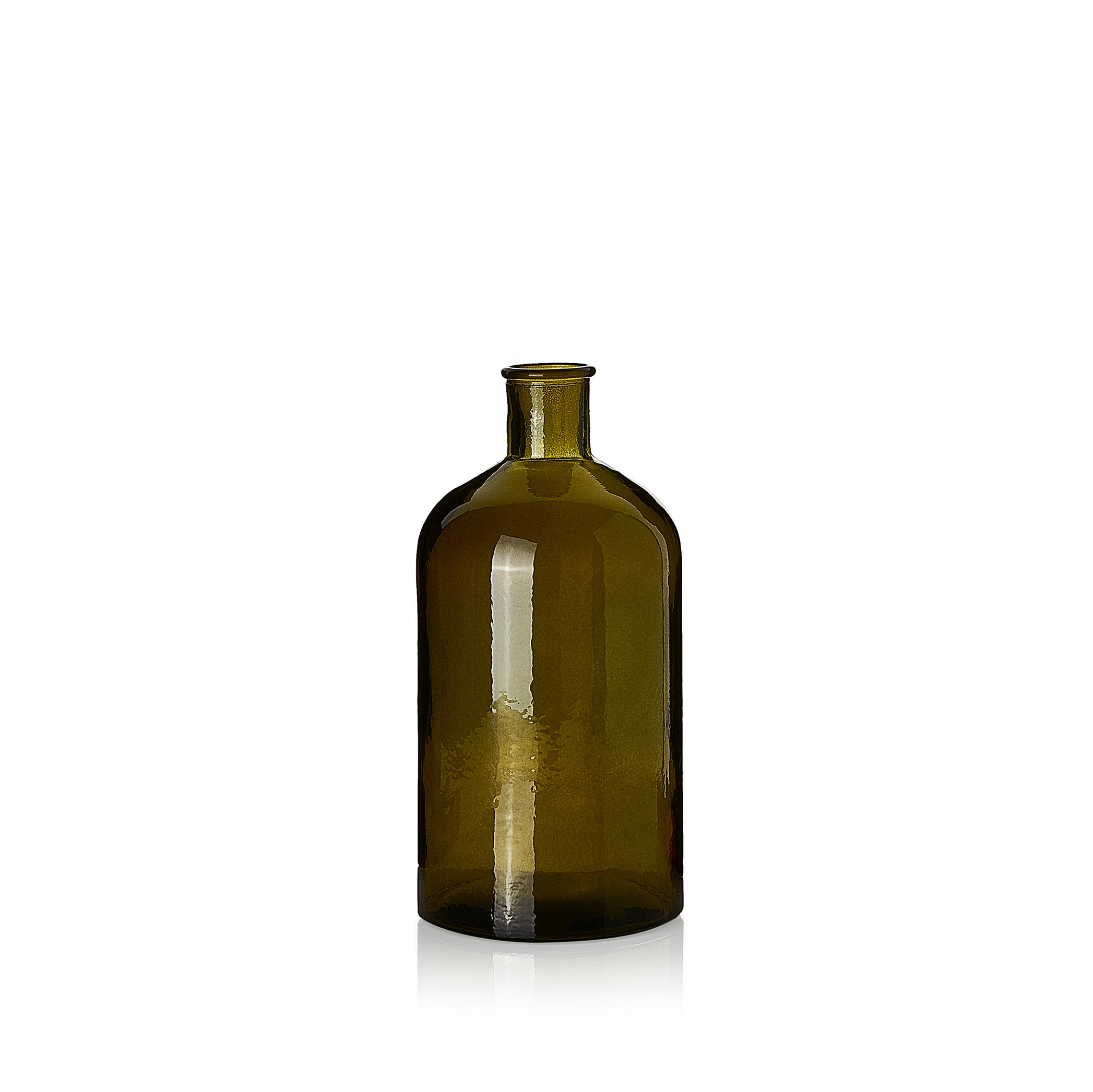Recycled Glass Bottle in Avocado Green, 28cm