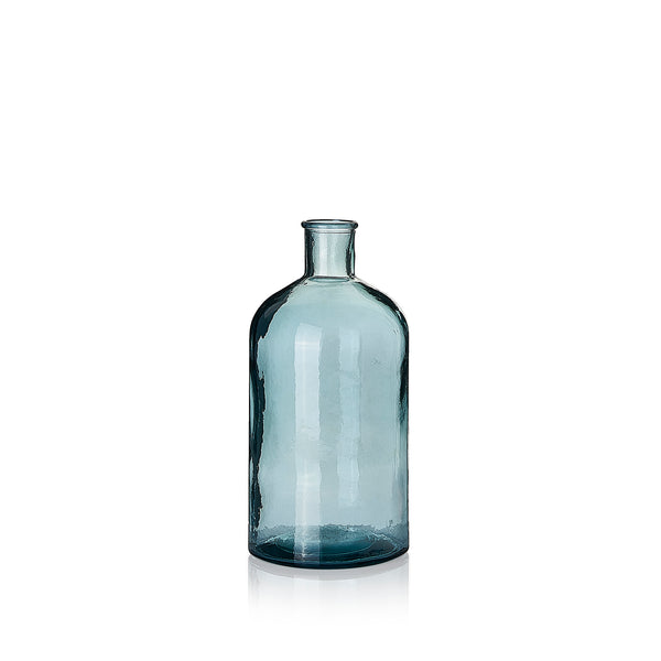 Recycled Glass Bottle in Sky Blue, 28cm