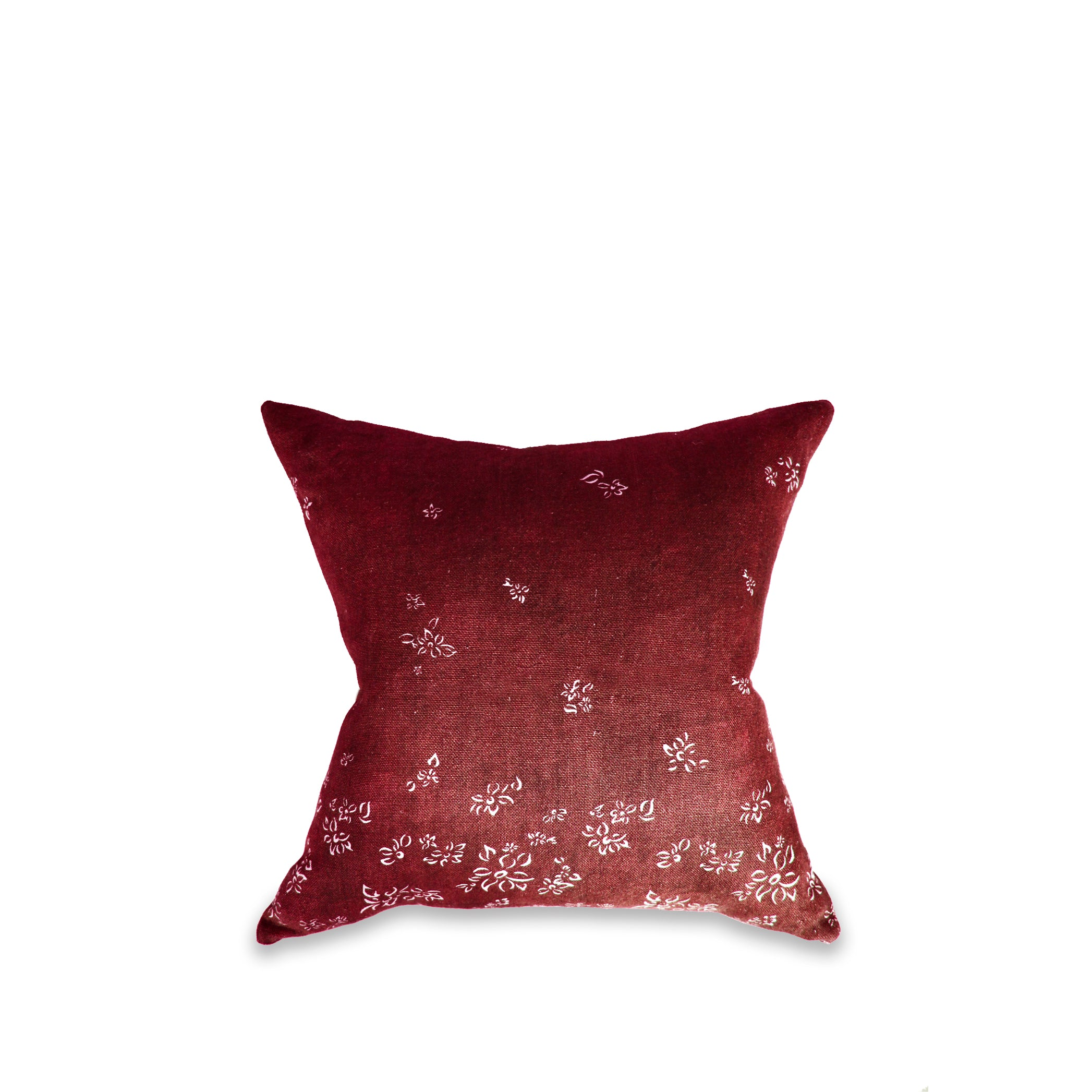 Heavy Linen Falling Flower Cushion in Full Field Claret Red, 50cm x 50cm