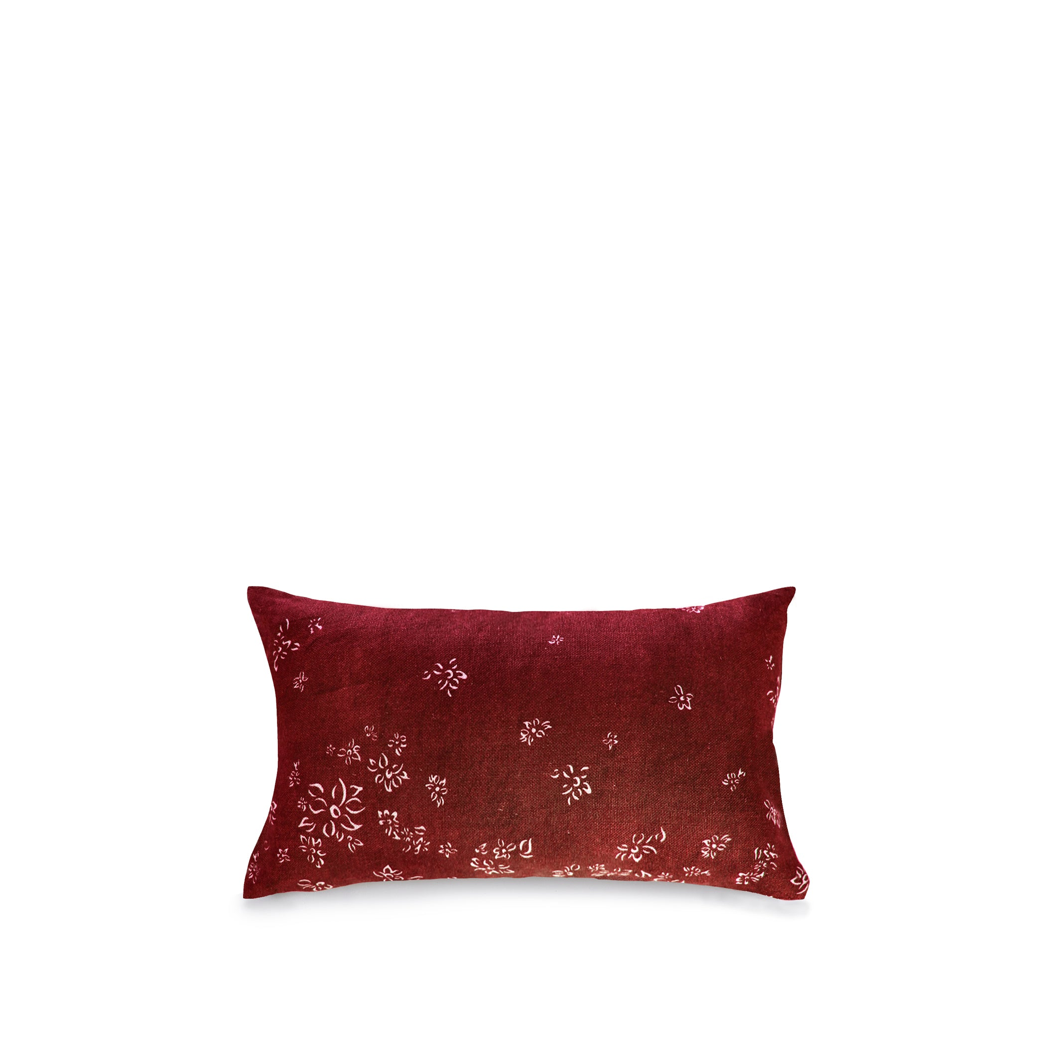 Heavy Linen Falling Flower Cushion in Full Field Claret Red, 50cm x 30cm