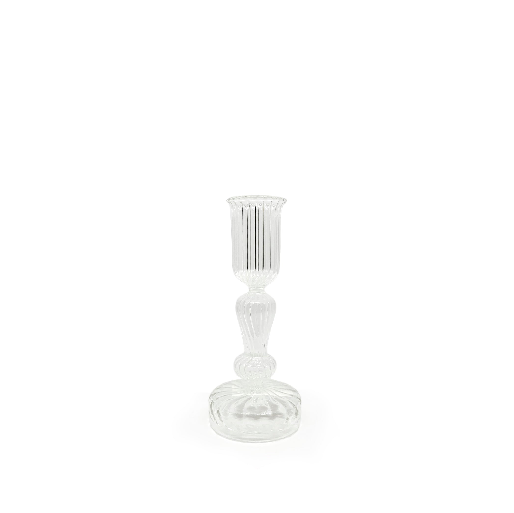Handblown Ribbed Pillar Glass Candlestick, Medium
