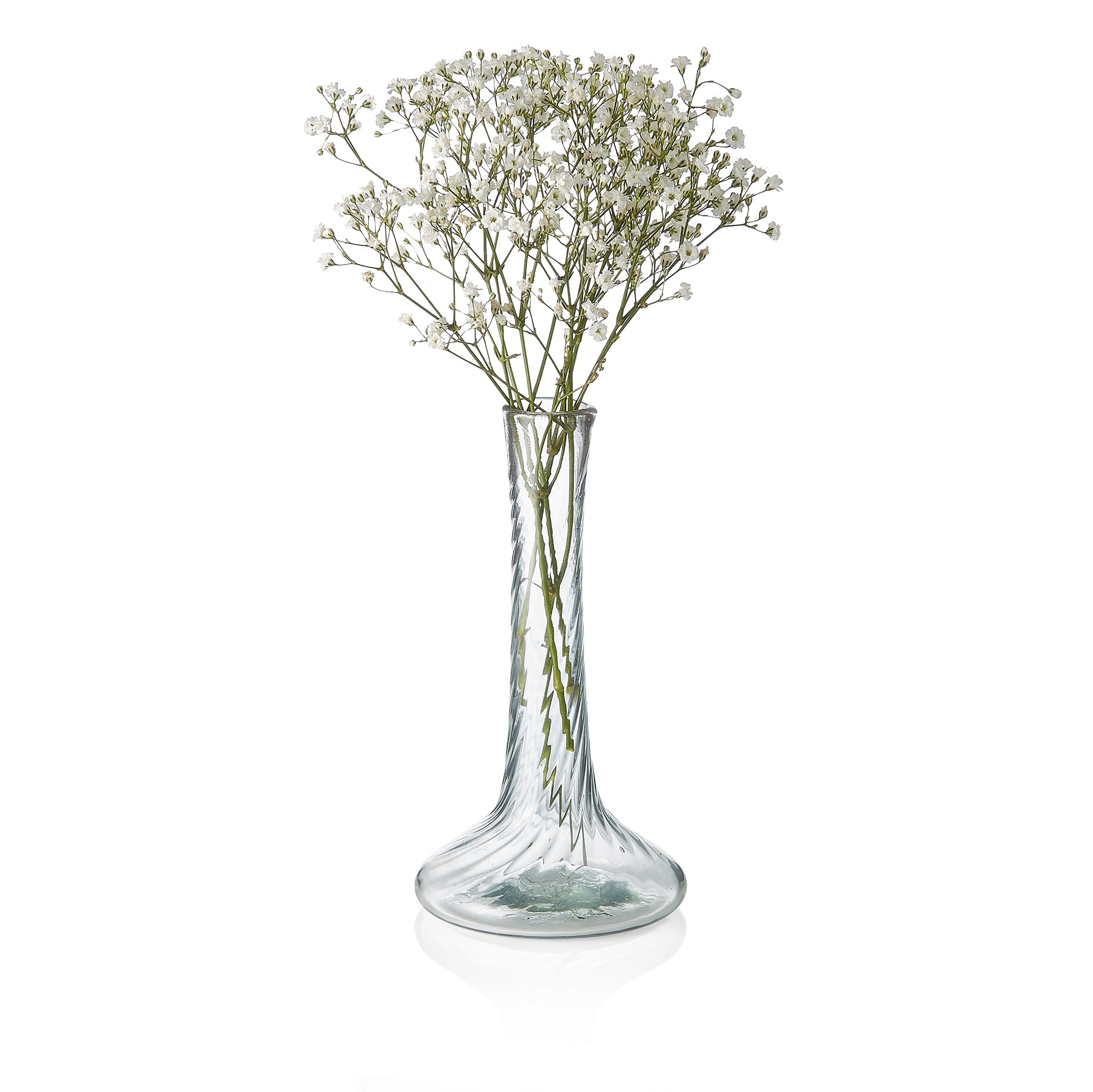Handblown Glass Ridged Stem Vase, 18cm