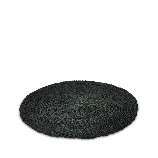 Abaca Woven Round Placemat in Black